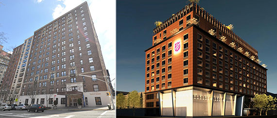 From left: 720 West End Avenue and rendering for a new building on East 125th Street