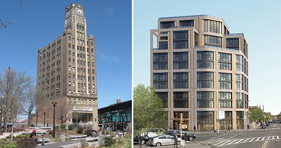 Clock Tower building at 29-27 41st Avenue and rendering of Ascent Development's 11-51 47th Avenue in Long Island City