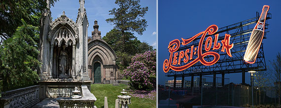 From left: the Green-Wood Cemetery in Brooklyn and the Pepsi Cola sign in Long Island City