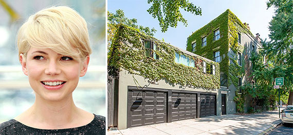 From left: Michelle Williams and 126 Hoyt Street, Brooklyn
