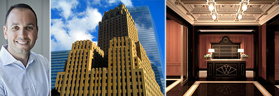 From left: Ben Shaoul, 140 West Street and the lobby at the Woolworth Building