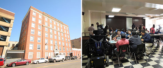 From left: 285 Schermerhorn Street and Brooklyn Community Services' interior