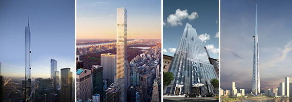 From left: Renderings of Nordstrom Tower, 432 Park, One57 and Kingdom Tower