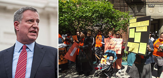 From left: Bill de Blasio and a recent tenant rally in New York City