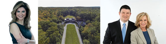 From left: Douglas Elliman's Maria Babaev, the Easton estate on Long Island's North Shore, and Janson and Sarah Friedman
