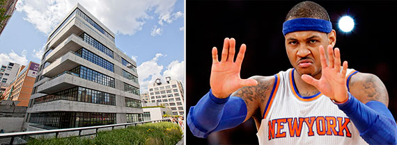 From left: 508 West 24th Street and Carmelo Anthony