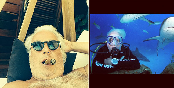 """From left: """"85 degrees in the shade"""" last winter, Scuba diving with sharks over two years ago"""