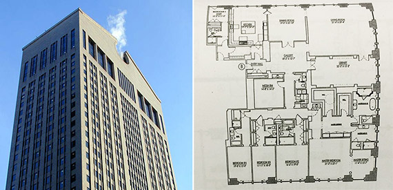 From left: 550 Madison Avenue and a floor plan for apartment 30A