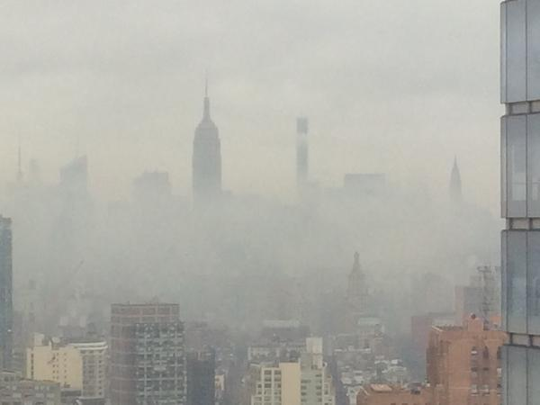 Midtown Manhattan, blanketed in fog and smoke after the explosion (Credit: @DavidMFriend1 via @NYCityAlerts)