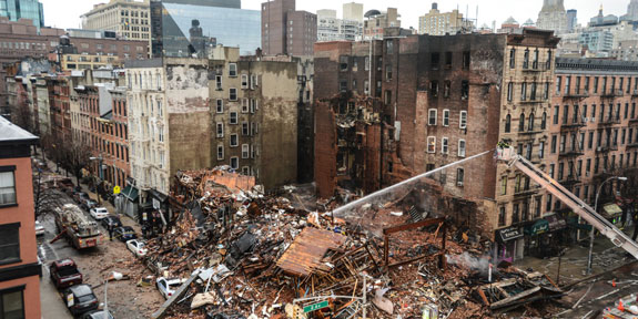 The aftermath of the East Village explosion and fire