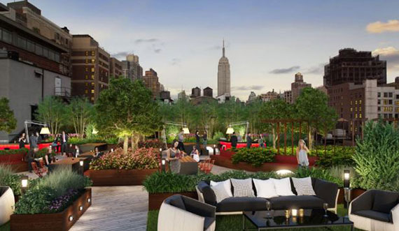 Rendering of 50 West 23rd Street's new rooftop (Credit: H5 Property).
