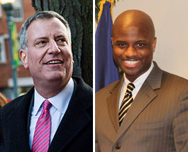 Bill de Blasio and Homeless Services Commissioner Gilbert Taylor