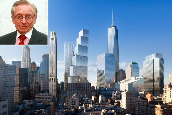A rendering of 2 World Trade Center and Larry Silverstein (Inset)