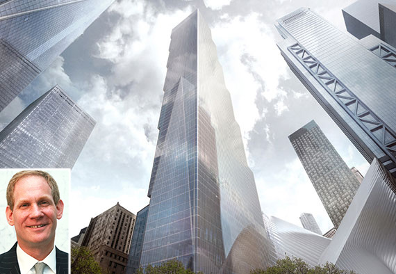 Rendering of 2 World Trade Center (credit: Bjarke Ingels Group) (inset: Janno Lieber)