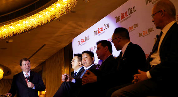 """The """"U.S. Real Estate Market Overview"""" panel, with Jonathan Miller, Greg Peng, Mark Chu, Sean Mei and Stephen Owens"""
