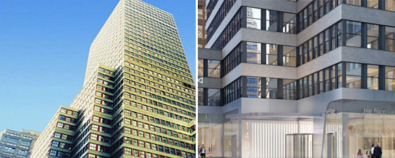 From left: 1407 Broadway now, and a rendering of the proposed renovation