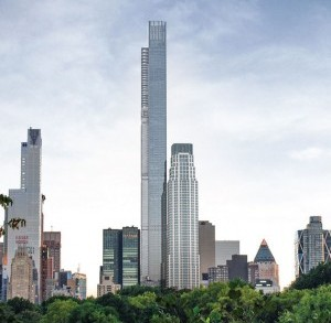 A rendering of Extell Development's Central Park Tower, which will top out at 1,550 feet tall when it's complete in 2019.