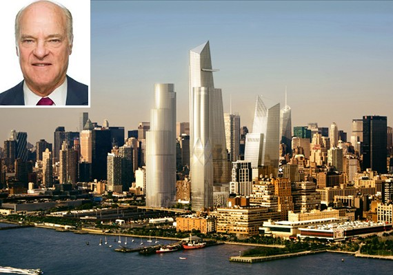 A rendering of Hudson Yards (inset: Henry Kravis)