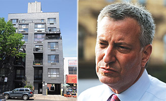 From left: 572 5th Avenue in Park Slope and Mayor Bill de Blasio