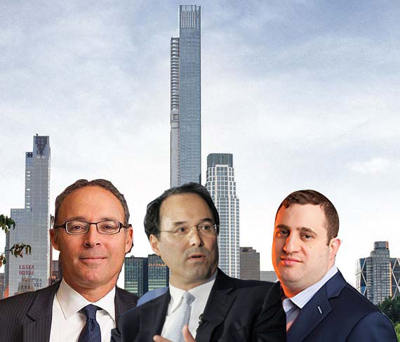 Miki Naftali, Gary Barnett and Michael Stern in front of a rendering of Billionaires' Row