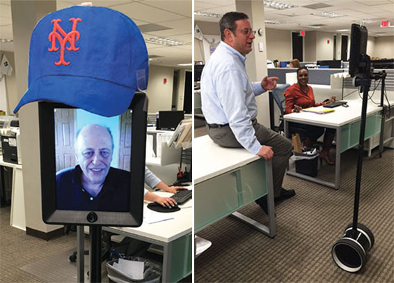 """""""Felix2,"""" the robot double attorney Felix Tschanz uses to work remotely at First Nationwide Title Agency's Long Island office"""