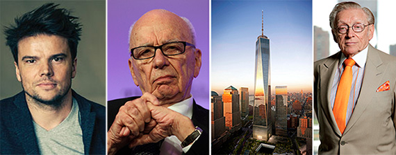 From left: Bjarke Ingels, Rupert Murdoch, the World Trade Center site and Larry Silverstein