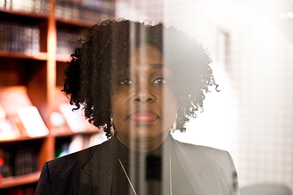Yolande Nicholson poses for a portrait in a conference room at her lawyer's office on Atlantic Ave., in Downtown Brooklyn, N.Y., on Thursday, November 12, 2015. CREDIT: Bryan Anselm for ProPublica