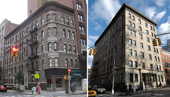 From left: 957 Park Avenue and 27 Washington Square North