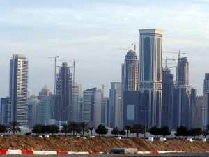 New high-rise office buildings and hotels still under construction stand in the new City Center and West Bay district in Doha, Qatar. (Getty Images)