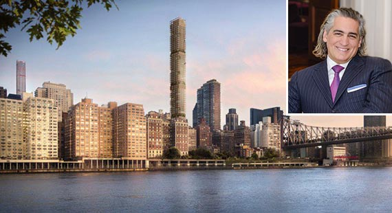 Rendering of 3 Sutton Place in Midtown (credit: Foster + Partners) (inset, Joseph Beninati)