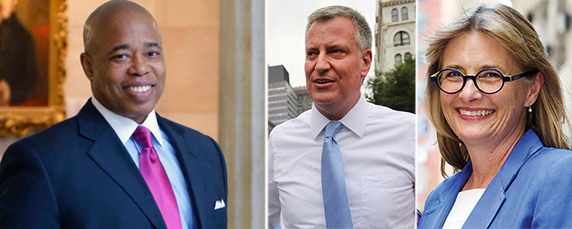 From left: Eric Adams, Bill de Blasio and Vicki Been