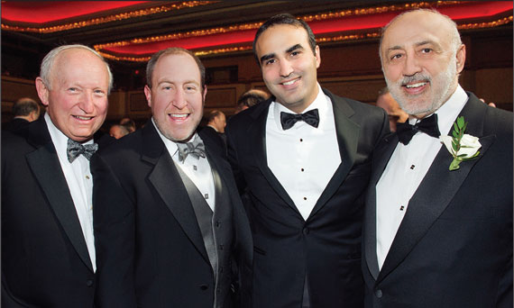 Andrew Singer, Scott Singer, Justin Elghanayan and Henry Elghanayan, at the 2013 REBNY Banquet