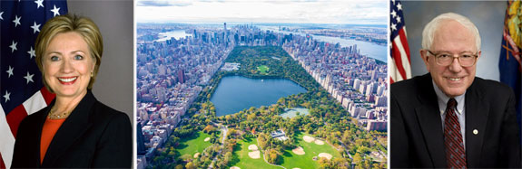 Hilary Clinton, Central Park and Bernie Sanders