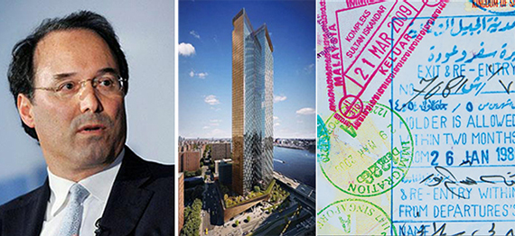 Gary Barnett and rendering of One Manhattan Square (credit: Extell)