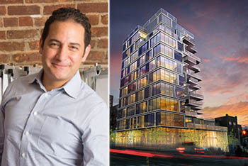 Boaz Gilad and rendering of Brookland's condo project at 550 Fourth Avenue in Park Slope (credit: RoArt via New York YIMBY)