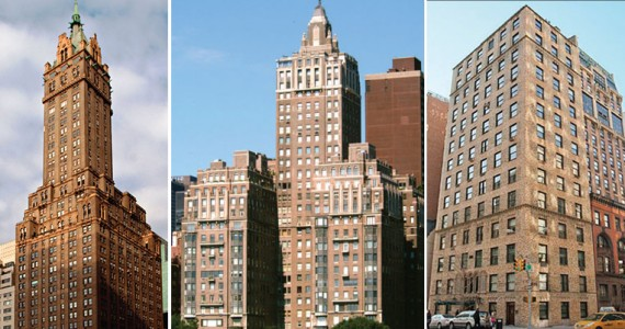 From left: The Sherry-Netherland at 781 Fifth Avenue, River House at 435 East 52nd Street and 898 Park Avenue