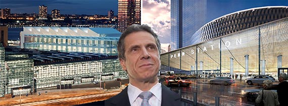 From left: Renderings of the Javits Center and Penn Station (inset: Gov. Andrew Cuomo)