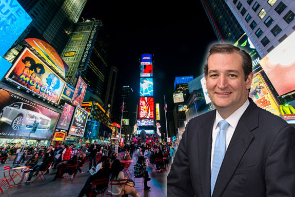Times Square and Ted Cruz
