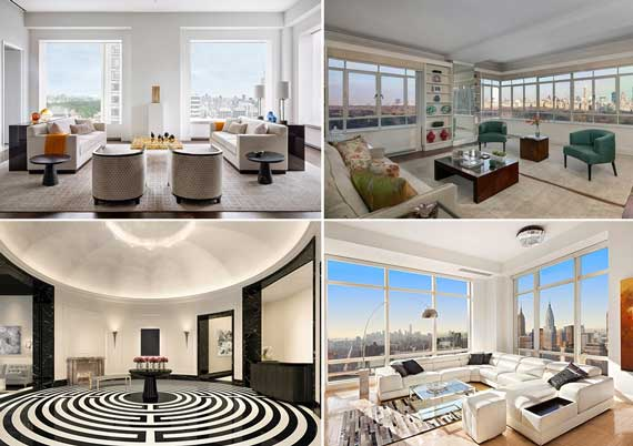 From top left: 432 Park Avenue (Credit: DBOX), 25 Central Park West (Credit: Brown Harris Stevens), lobby at 30 Park Place (Credit: Corcoran Group) and 845 United Nations Plaza (Credit: Town Residential)