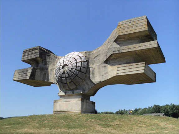 the-monument-to-the-revolution-built-in-croatia--then-yugoslavia--is-an-abstract-sculpture-dedicated-to-the-people-of-moslavina-during-world-war-ii