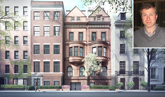 11-15 East 75th Street on the Upper East Side (inset: Roman Abramovich)