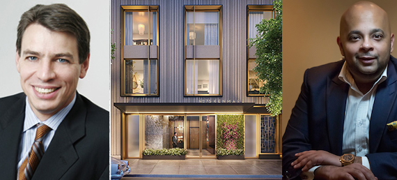 From left: Dan Hollander, a rendering of 75 Kenmare Street in Nolita and Adi Chugh