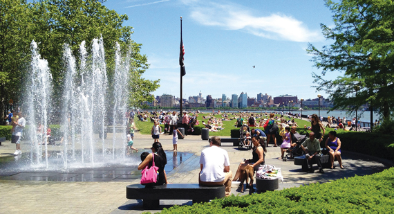 Hoboken residents relax with views of Manhattan.