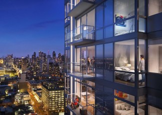 "A rendering Moinian's ""Sky"" rental building at 605 West 42nd Street"