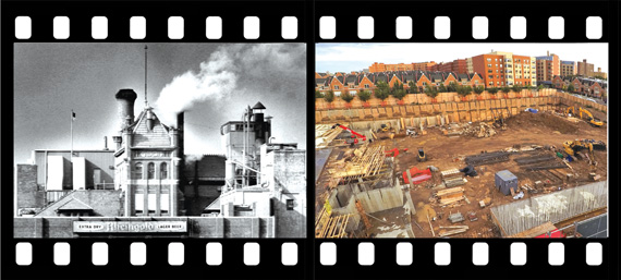 The Rheingold Brewery plant in 1976 and the excavated Rheingold site at 10 Montieth St.