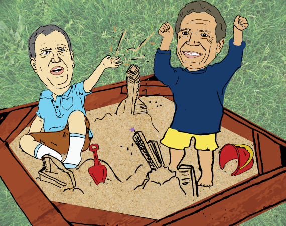 Bill de Blasio and Andrew Cuomo (illustration by Lexi Pilgrim for The Real Deal)