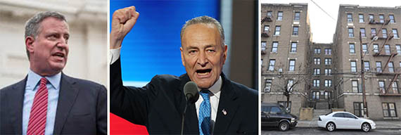 From left: Bill de Blasio, Chuck Schumer (credit: Getty) and 4002-4004 Carpenter Avenue in the Bronx