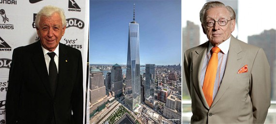 Frank Lowy, the World Trade Center (credit: Port Authority) and Larry Silverstein
