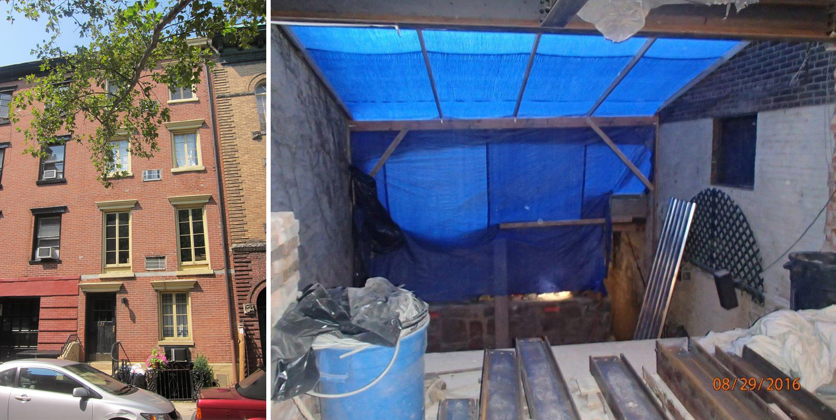 35 Perry Street and the  wood-and-tarp frame hiding the 7-foot excavation behind the landmarked building (credit: NYC DOB)