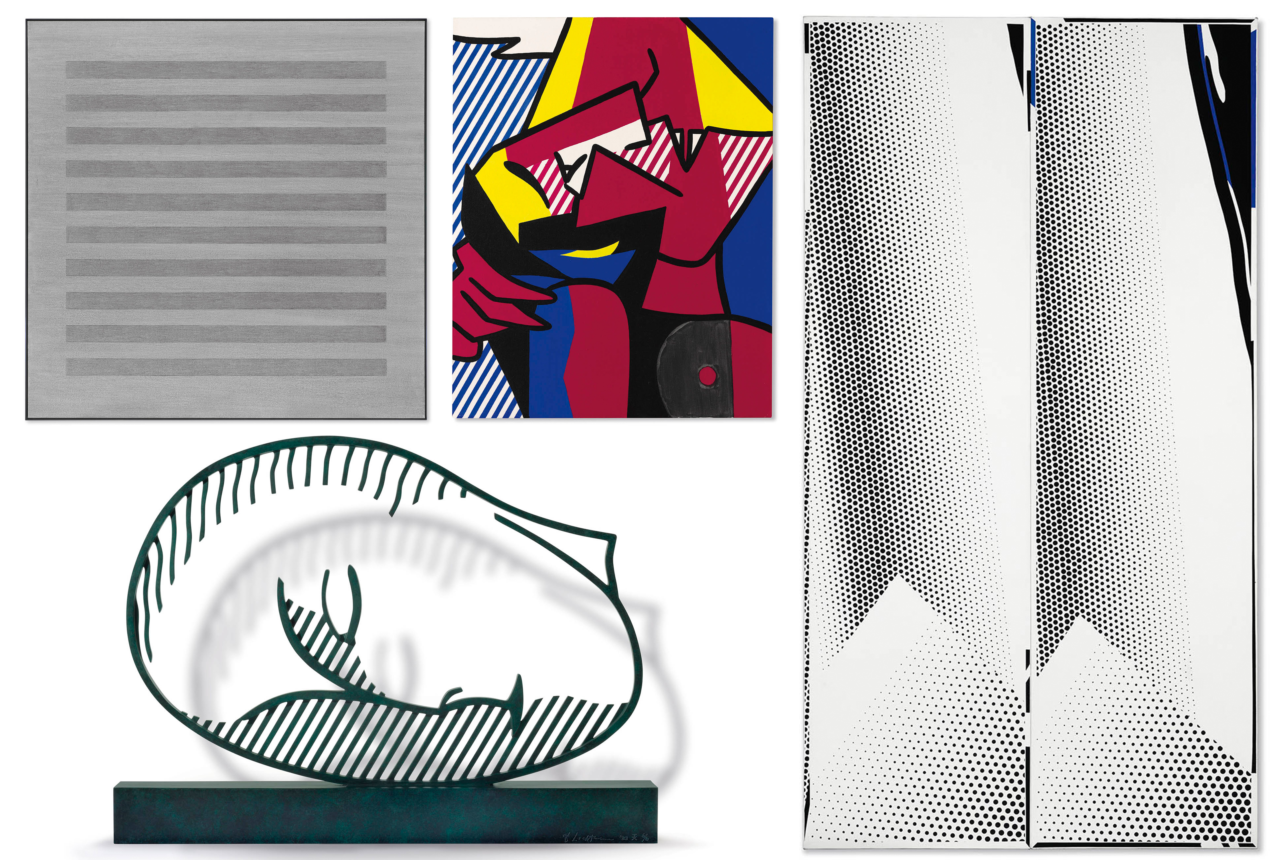 Pieces in Robert Olnick's art collection (clockwise from left: An acrylic and graphite-on-canvas work from 1983 by Agnes Martin, Despair, from 1979, by Roy Lichtenstein, Double Mirror, from 1970, by Roy Lichtenstein and a 1983 patinated bronze sculpture by Roy Lichtenstein) (credit: Christie's)